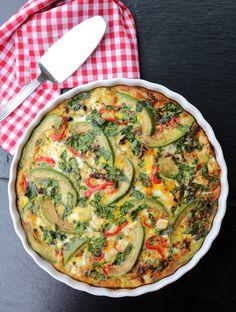 Middagsomelett med potet & avokdo - LINDASTUHAUG Vegetable Pizza, Quiche, Food And Drink, Wellness, Vegetables, Eat, Breakfast, Omelette, Morning Coffee