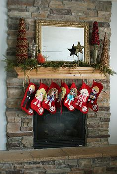 Love the idea of personalized stockings  & in the toe they added the snowflake embroidered with their names