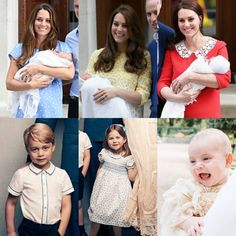Catherine, Duchess of Cambridge leaves St. Mary's Hospital with each of her children, Prince George, Princess Charlotte and Prince Louis. The three children are below the respective picture when Mum left the hospital with them.
