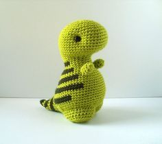 Timothy the T-rex amigurumi pattern by Bluephone Studios Cute Crochet, Easy Crochet, Crochet Baby, Knit Crochet, Crochet Patterns Amigurumi, Crochet Toys, Knitting Patterns, Crochet Animal Patterns, Crochet Dinosaur