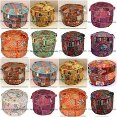 Home Decor Cotton Handmade Ottoman Pouf Cover Excellent In Cushion Effect Indian Vintage Pouf Cover Furniture