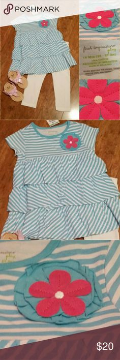 Spring Outfit Teal-Blue and White BNWT Adorable and Perfect for Spring Time and Summer.  Outfit is 18mos however It runs big.  Shoes not included Available in another listing (Consider bundling to get more value out of the cost of Shipping and feel free to make offers on bundles) Thank you for visiting my closet!! SMOKE FREE CLEAN HOME Matching Sets
