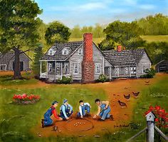 Americana-Folk-Art-Country-Print-Playing-Marbles-Old-House-Chicken-Arie-Taylor