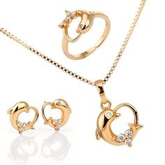 Kids jewelry set, Girls jewelry set. ,18k gold plated  kids jewelry set ,Dolphin heart charm necklace with pendant , ring and earings