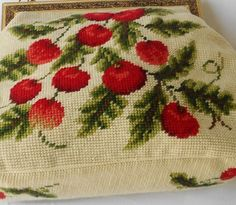 Cherries Purse Needle Point Pin Up XL 12 x 9 by normajeanscloset