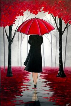 A stunning painting that will look amazing on any wall. A lady walks through the enchanted looking red woods underneath her umbrella. Various shades of greys highlight the distant trees and works beautiful with the redness of the umbrella and the leaves s