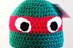 Crochet Ninja Turtle Hat Pattern - Repeat Crafter Me Crochet Kids Hats, Crochet For Boys, Crochet Beanie, Knit Or Crochet, Cute Crochet, Crochet Crafts, Crochet Ninja Turtle, Crochet Character Hats, Crochet Embellishments