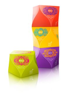 Vibrant colors and functional on shelf. Love the sense of movement. BOLU Organic Loose Leaf by Mat Bogust, via Behance