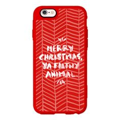 iPhone 6 Plus/6/5/5s/5c Case - Merry Christmas, Ya Filthy Animal – Red ($40) ❤ liked on Polyvore featuring accessories, tech accessories, iphone case, apple iphone cases, iphone cover case, animal iphone cases and iphone hard case