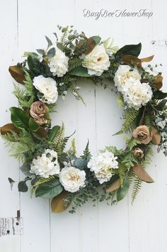 Magnolia FALL Farmhouse Wreath for Front Door, White Peony and Hydrangea Wreath with Greenery, French Country Farmhouse Fall Wreath Magnolia FALL Farmhouse Wreath for Front Door, White Peony and Hydrangea Wreath with Greenery, Fren Farmhouse Fall Wreath, Country Farmhouse, French Country, Peonies And Hydrangeas, White Peonies, Hydrangea Wreath, Floral Wreath, White Wreath, Country Front Door