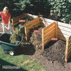 How to build a simple 3-bin composter you can turn yard and kitchen waste into rich compost in 4 to 6 weeks.: