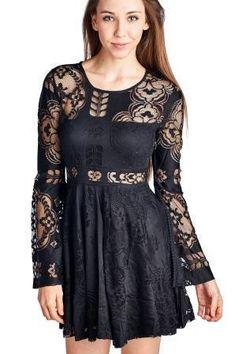 Women's Floral Pattern Lace Open Back Long Bell Sleeve Dress