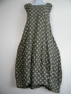 PLUS PLUS SIZE 100% LINEN SPOTTY LAGENLOOK DRESS WITH FRONT POCKETS SIZE 16-22