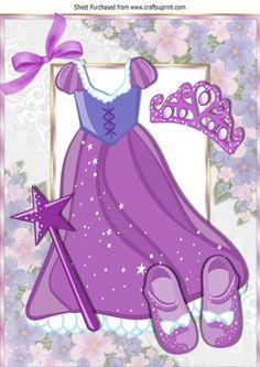 Pretty purple sparkle princess dress with tiara A4 on Craftsuprint - Add To Basket!