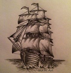 Ship tattoo sketch / drawing / art by - Ranz