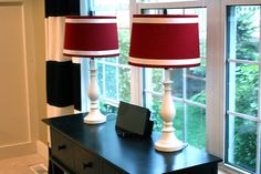 Love these - walmart lamps updated with some ribbon