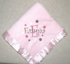 Personalized embroidered baby blanket with satin trim by lrmbc5, $18.99