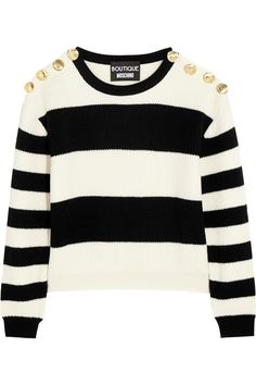 Boutique Moschino | Cropped striped ribbed wool sweater | NET-A-PORTER.COM