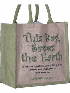 Jute Eco Friendly Shopping Bag Various Slogans Natural Fibre Environmental Green | eBay