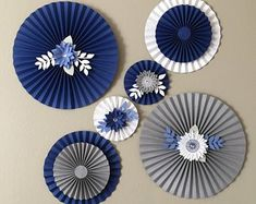 Items similar to Floral Paper Fans Rosettes Backdrop Party Decor Paper Party Decorations, Birthday Party Decorations, Paper Flower Decor, Flower Crafts, Diy Paper, Paper Crafts, Eid Crafts, Paper Rosettes, Paper Fans