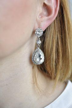 Ohrringe silber Brautschmuck: Kristall Tropfen von StellaKobenhavn