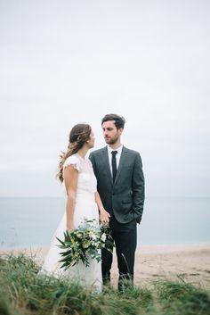 Bride & Groom Beach Wedding Cornwall - Jesus Peiro Wedding Dress   Cornish Beach Wedding   White & Green Bouquet   Images by Olivia Bossert Photography