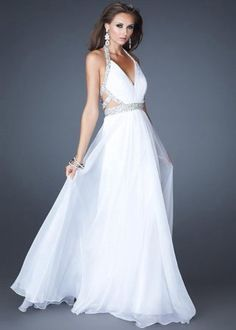 La Femme 18633 White Halter Neck Long Dress
