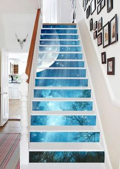 Decoration Photo, Stair Art, Staircase Design, Modern Stairs Design, Marble Stairs, Floor Murals, Temporary Wallpaper, Printed Curtains, Stair Risers