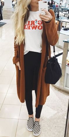 #fall #outfits women's brown long-sleeved midi cardigan. Click To Shop This Look.