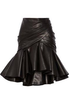 Balmain|Wrap-effect pleated leather skirt|NET-A-PORTER.COM