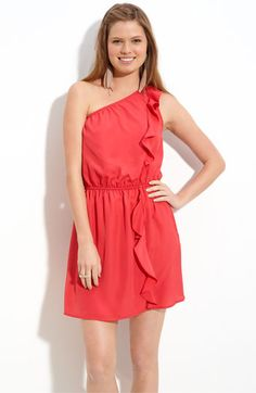 ruffled one shoulder dress