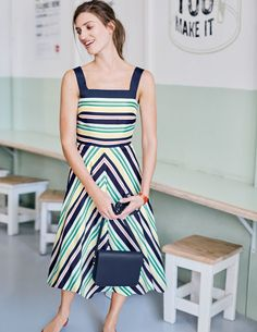 Wear it out to dinner, down to the beach, or just around your living room – this ultra-pretty dress is simply made for swooshing about. With a semi-fitted cut, a full skirt and a stunning chevron print, it's so flattering you won't want to take it off.
