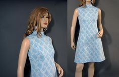 Vintage Dress 60s Mod Baby Blue Empire White by vintagedaisydeb, $38.00