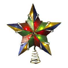 Kurt Adler UL 10-Light 5-Point Gem Star Treetop, 9-Inch, Capiz Kurt Adler