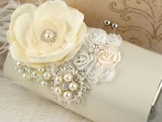 Bridal Clutch  Bridesmaid Party Clutch in Cream Ivory by SolBijou, $150.00-Isn't this just gorgeous!!!
