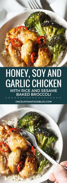 Honey, Soy and Garlic Chicken Bowl with Rice and Sesame Baked Broccoli Honig, Soja und Knoblauch Chicken Bowl mit Reis und Sesam gebackenem Brokkoli Honey Soy Garlic Chicken, Soy Chicken, Sesame Chicken, Baked Chicken, Broccoli Chicken, Healthy Low Carb Recipes, Fun Easy Recipes, Rice Recipes, Chicken Recipes