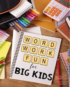 Word Work Fun for Big Kids- FREE printables!