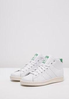 adidas Originals STAN SMITH MID - Sneakers hoog - white/green/chalk white - Zalando.be
