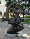 Salem Ma.  Lipin Park, Statue of Elizabeth Montgomery in her Role as Samantha Stevens on Bewitched