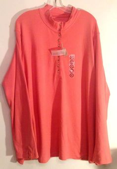 Womens Plus Size 3X Natural Reflections Shirt Top Long Sleeve Peach Light Orange #NaturalReflections #KnitTop #Casual