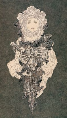 Takato Yamamoto, illustration, artwoek, drawing, rib cage, roses, layers, woman