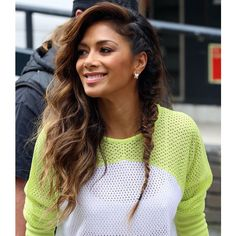 Nicole Scherzinger Demonstrates Yet Another Cute Braid Idea (She... ❤ liked on Polyvore featuring hair and coiffure