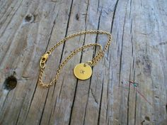 Gold Personalized Bracelet with Initial Charm by KottageKreations, $26.00