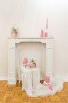 Kaminumrandung deko in rosa Hochzeit