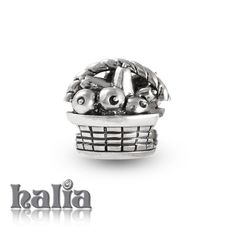 Farmers' Market: Fruit & vegetable basket bead: designed exclusively by Halia, this bead fits other popular bead-style charm bracelets as well. Sterling silver, hypo-allergenic and nickel free.   $35.00