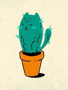 Illustration by Derek Eads Cactus Cat, Cactus Tattoo, Cute Drawings, Crazy Cats, Graphic Design Art, Cat Art, Framed Art Prints, Illustration Art, Artsy