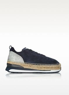 Sneakers Hogan 2017 - Deep Blue Perforated Suede Lace Up Sneakers w/Glitter