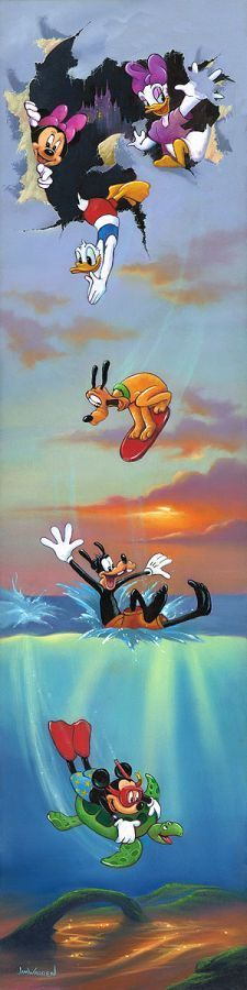 """Mickey and Pals Big Day Off"" by Jim Warren   Disney Fine Art"