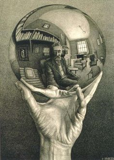 hand with reflecting sphere, MC Escher