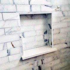 Marble Subway Tile Ideas For Shower Niches